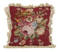 Foam Seat Cushions For Chairs Throw Handmade Rose Needlepoint Cushion Pillow Cover Case Wool Rectangular Cushion