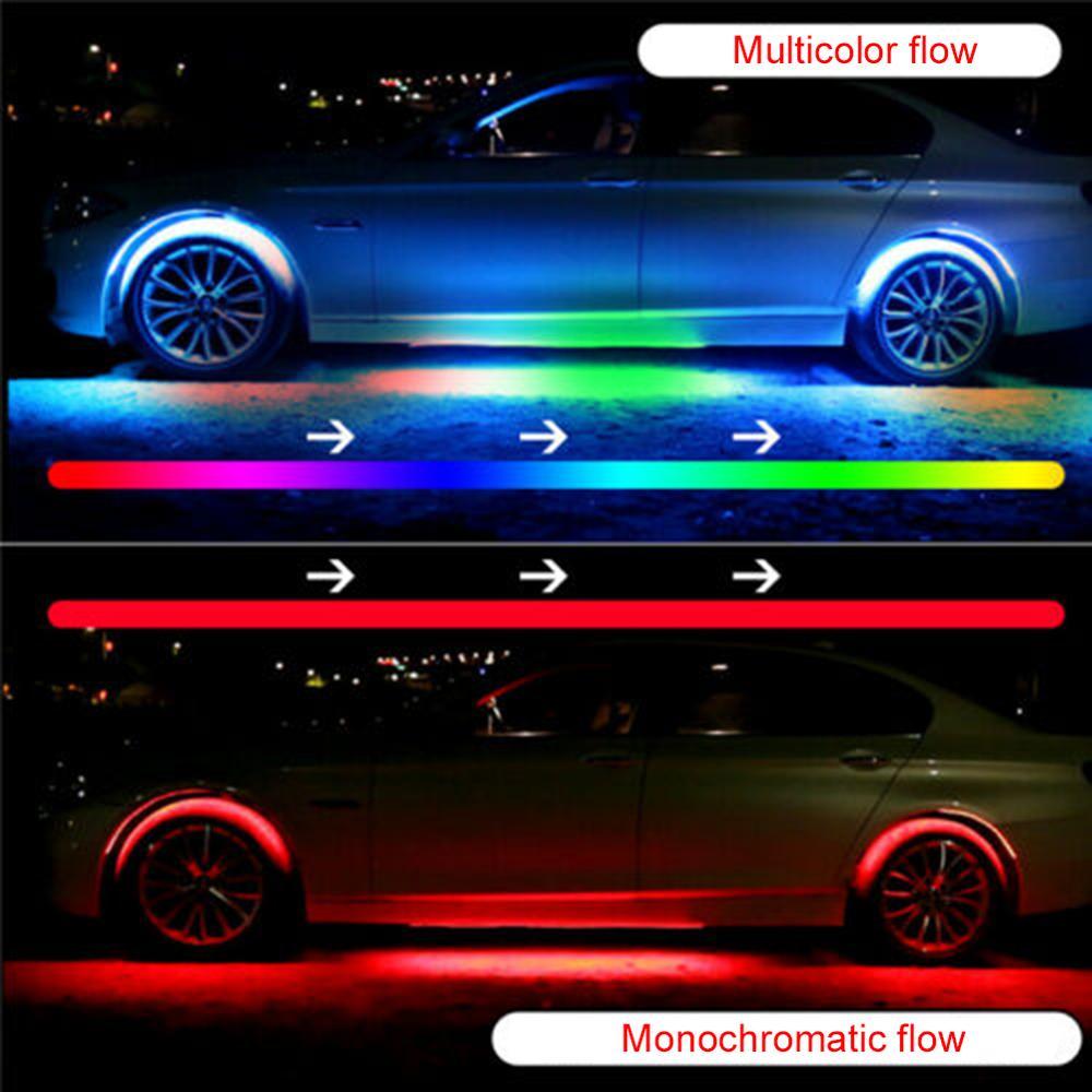 4 шт. автомобиль RGB Светодиодные ленты светильник под Светодиодные ленты светильник s 7 цветов Tube днища Системы Bluetooth App Управление Неон шасси ...