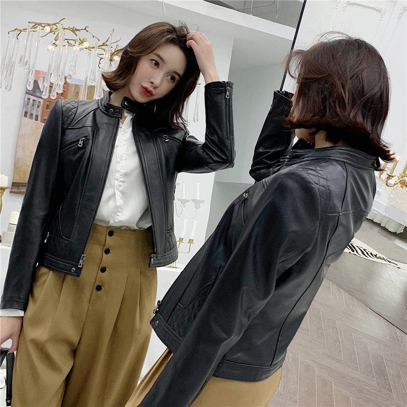 2020 Genuine Leather Jacket Women Spring Autumn 100% Sheepskin Coat Short Motorcycle Jacket Slim Fit Korean 3905 KJ3686