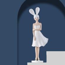 Bunny bowknot menina casa decoração acessórios sala de estar decoração enfeites decorativos estátuas e esculturas figurinhas