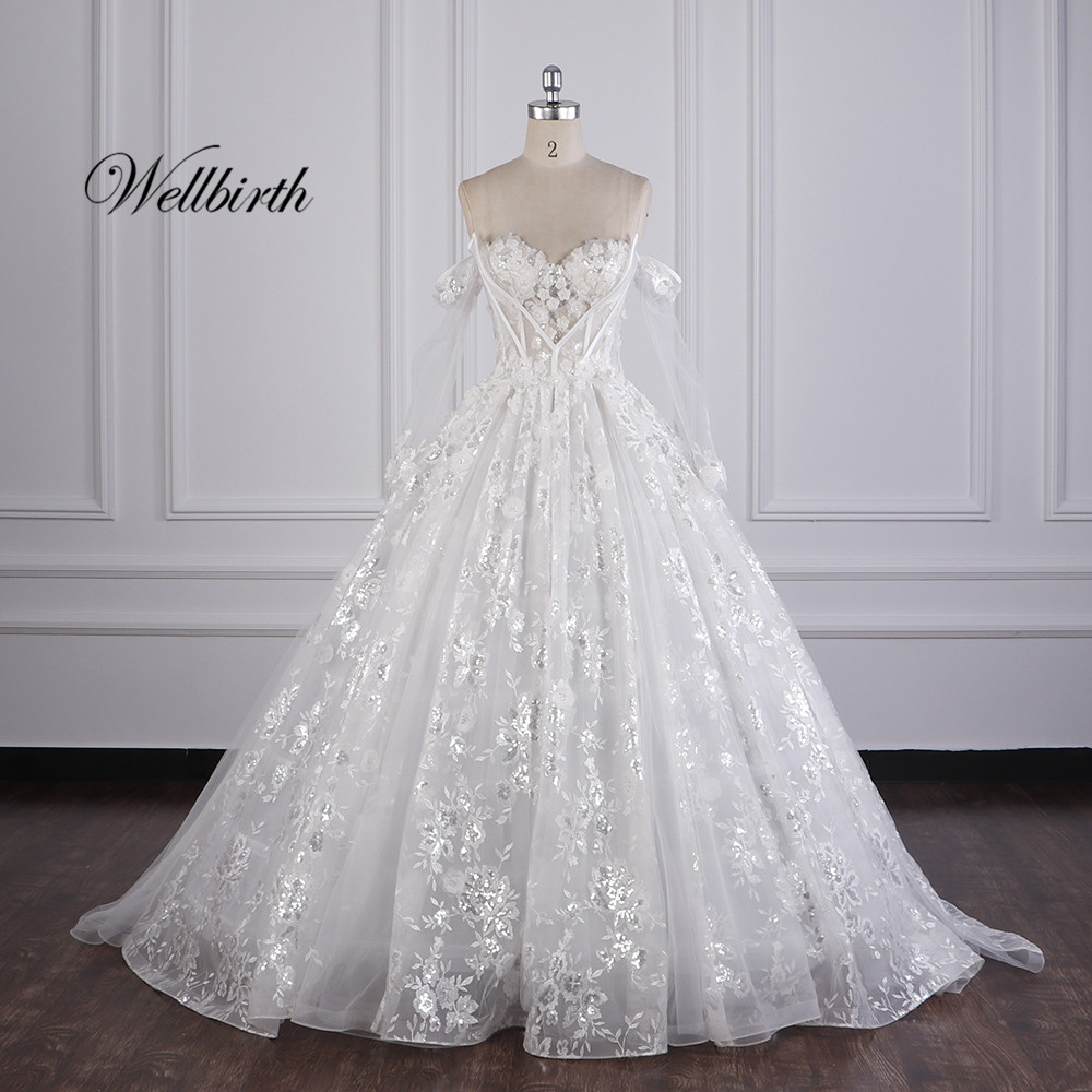 100% Real Picture Wellbirth Vestido De Novia Sweetheart Appliues A-Line Wedding Dress Off The Shoulder Bridal Gown JC008