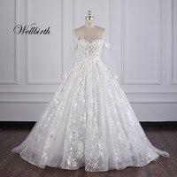 100% real picture Wellbirth Vestido de novia sweetheart Appliues A Line Wedding dress Off the shoulder Bridal gown JC008