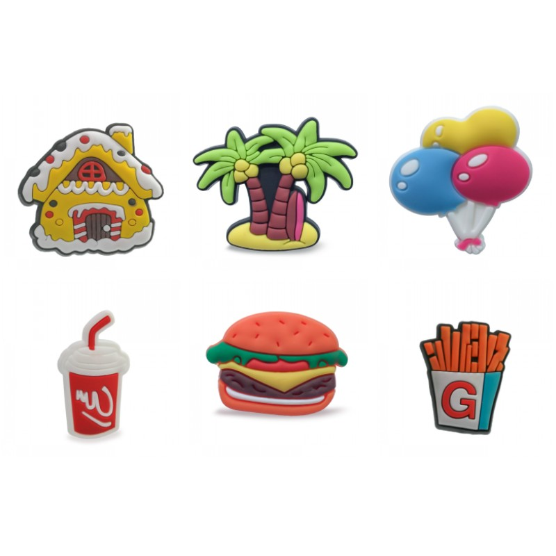 1PCS Casual PVC Shoe Charms Shoe Buckles Shoes Accessories Hamburger Fries Ornaments Fit For Croc Decoration JIBZ Gift