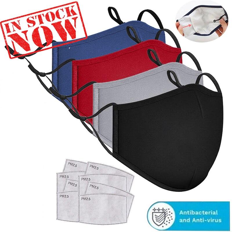 3 pçs algodão máscara preta boca máscara anti poeira pm2.5 boca máscara de filtro de carvão ativado máscaras de tecido lavável reutilizável