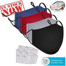 Masque buccal en coton noir, 3 pièces, Anti-poussière, PM2.5, filtre à charbon actif, masques en tissu lavables et réutilisables