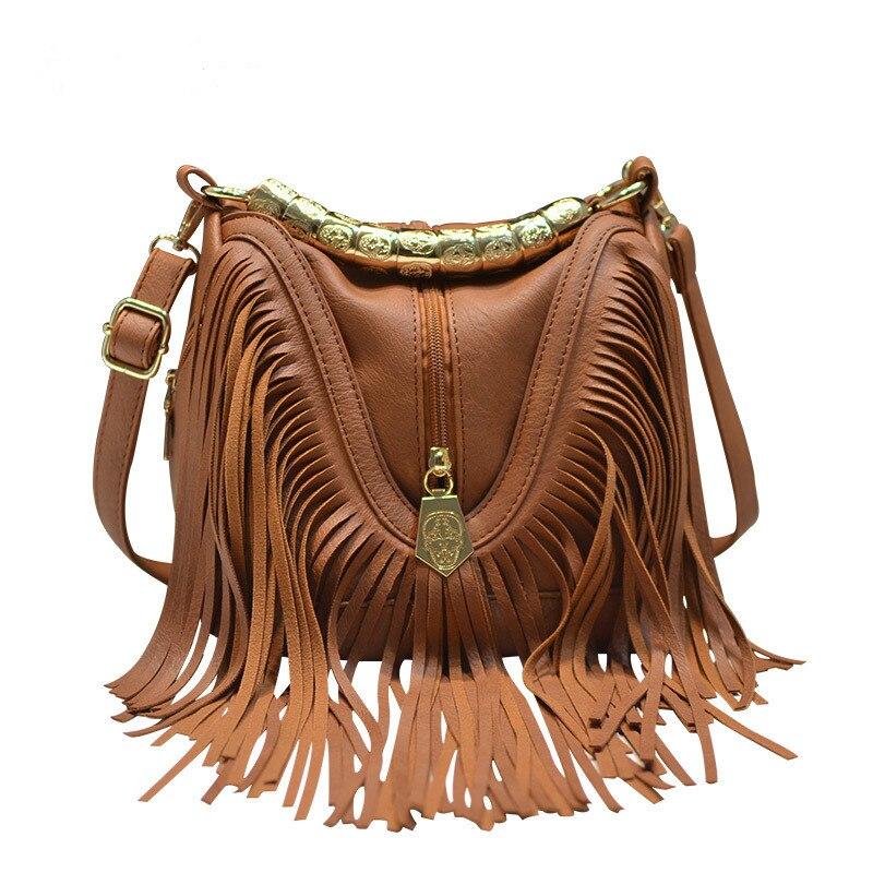 Европейская и американская модная популярная сумка-ведро с кисточкой, сумка через плечо