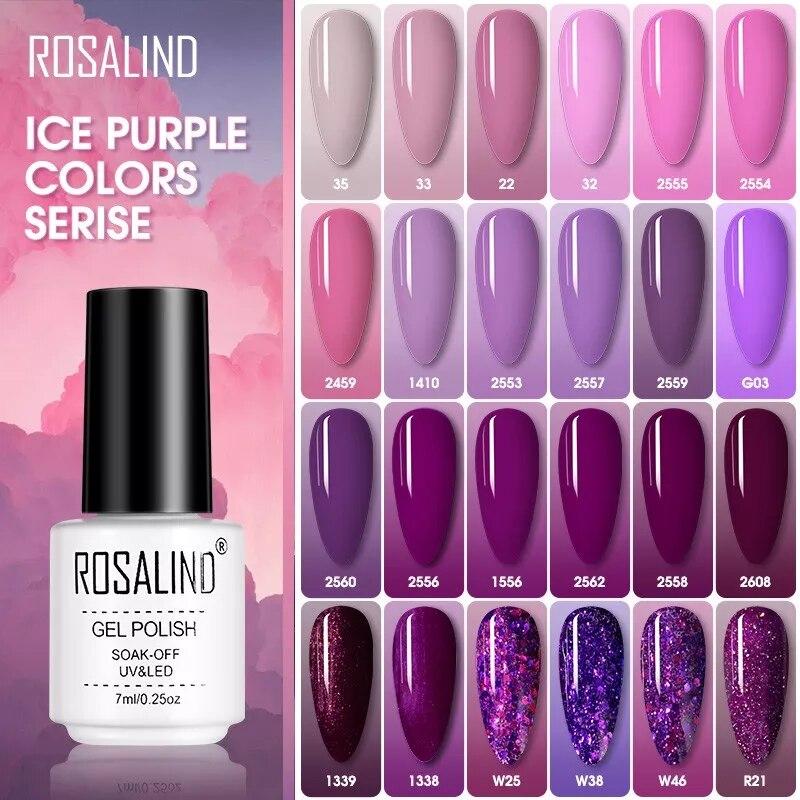ROSALIND Nail Polish Ice purple Serise Nail Art All for Manicure Need UV LED Base Top coat Primer Gel Varnish hybrid Gel polish