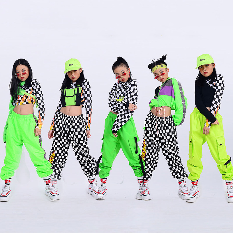 Girls Hip Hop Dance Costumes Fluorescent Color Flame Print Top Children Jazz Performance Clothing Modern Street Dancewear DN4680