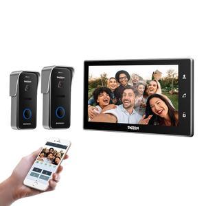 TMEZON, 10 pulgadas, inalámbrico/Wifi, timbre de vídeo inteligente, sistema de intercomunicación IP, 1x Monitor de pantalla táctil con 2x720P, con cable, cámara de teléfono de puerta