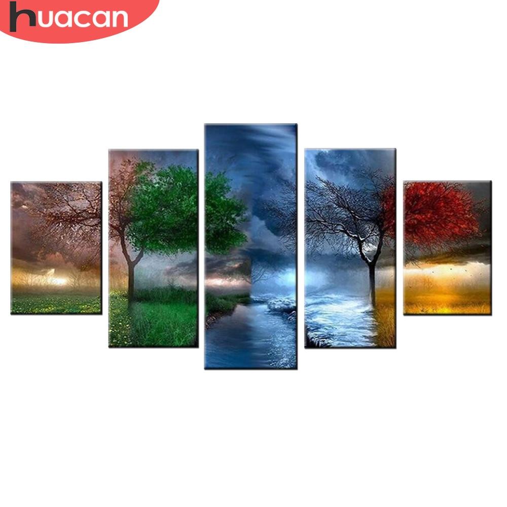 Huacan Diamond Painting Seasons Trees Cross Stitch Full Square Drill 5D Diamond Embroidery Home Decoration 5pcs/set