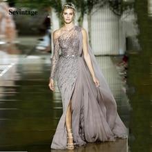 Sevintage vestidos One Shoulder Chiffon Long Evening Dresses Sparkly Red Carpet Beaded Sequins Split Formal Party Prom Gowns