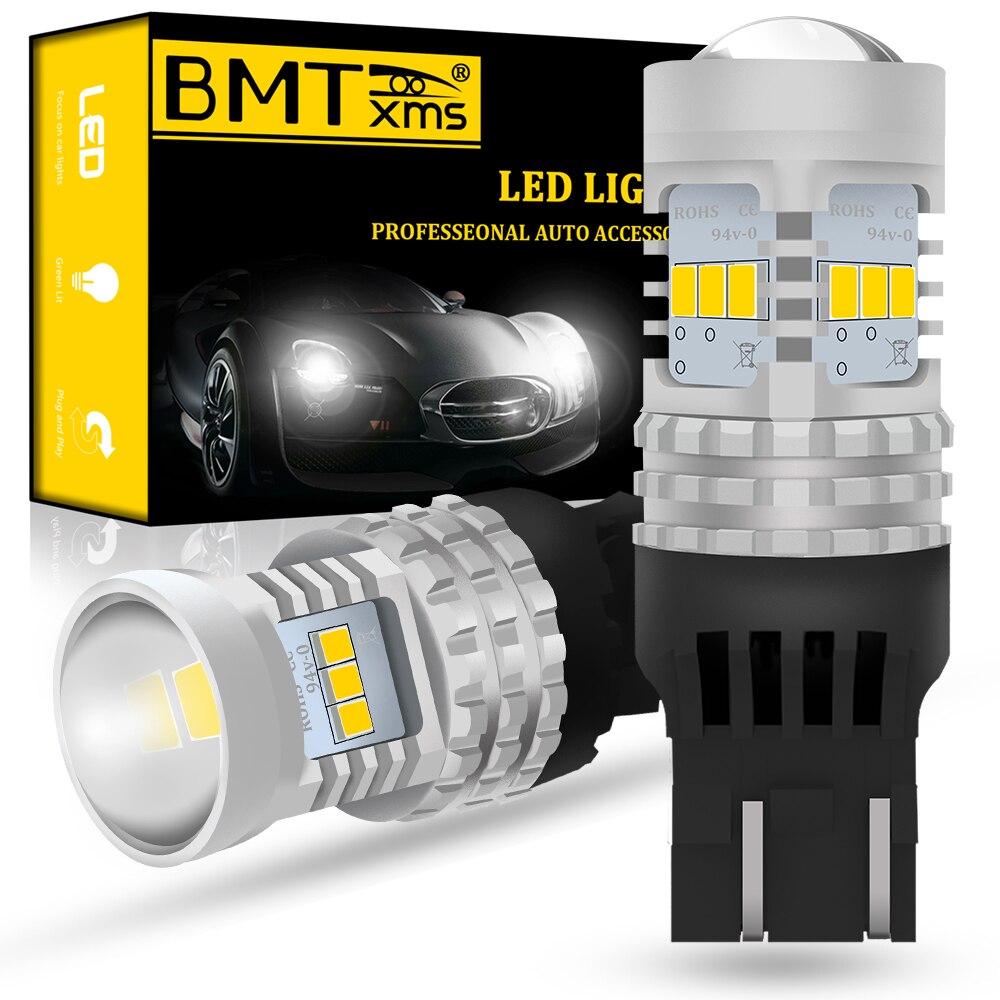 BMTxms 2 шт. светодиодный DRL Дневной ходовой светильник 1500LM Canbus T20 W21W 7440 для Volkswagen VW PASSAT 3G B8 2015-2020 аксессуары