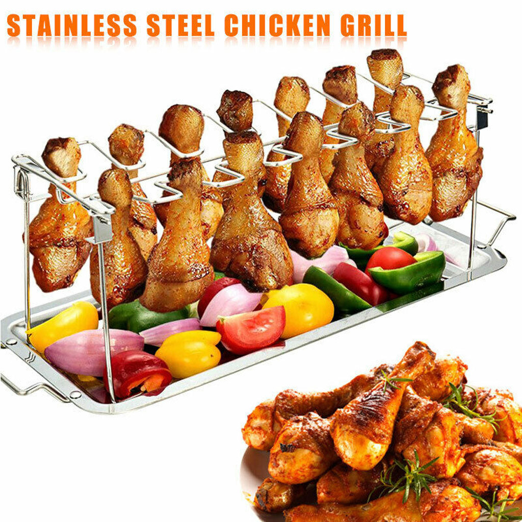 Stainless Steel Chicken Wing Leg Rack Grill Holder with Drip Pan for BBQ Quality BBQ Rib Non Stick Carbon Steel  Grill Mat
