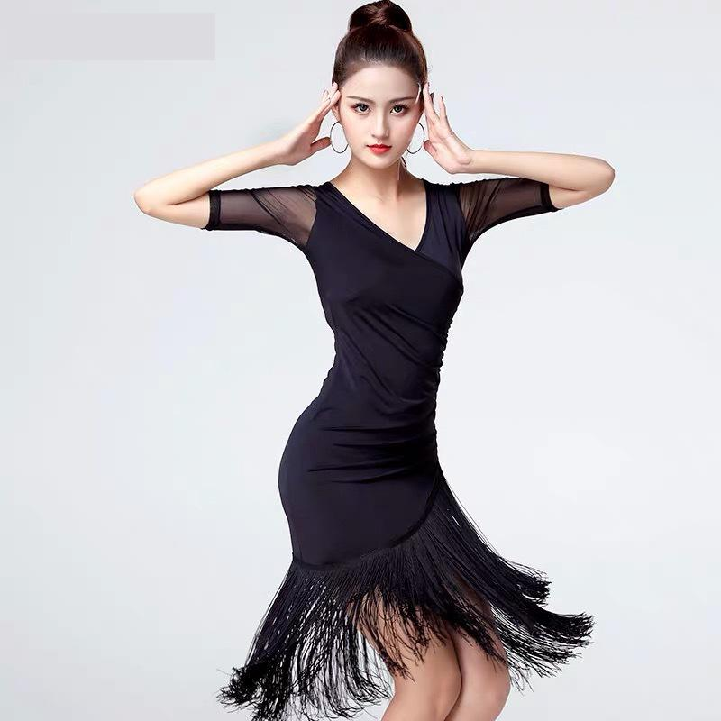 Latin Dance Tassel Dress Training Female Adult Summer Ballroom Tango Salsa Rumba Costume image