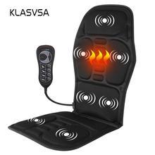 Klasvsa portátil elétrico voltar massageador cadeira almofada vibrador do carro escritório em casa pescoço lombar cintura alívio da dor almofada de assento relaxar esteira