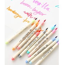 10 pçs escova macia cor marcador canetas conjunto para desenho mão escrita rotulação caligrafia pintura papelaria escola casa diy arte f805