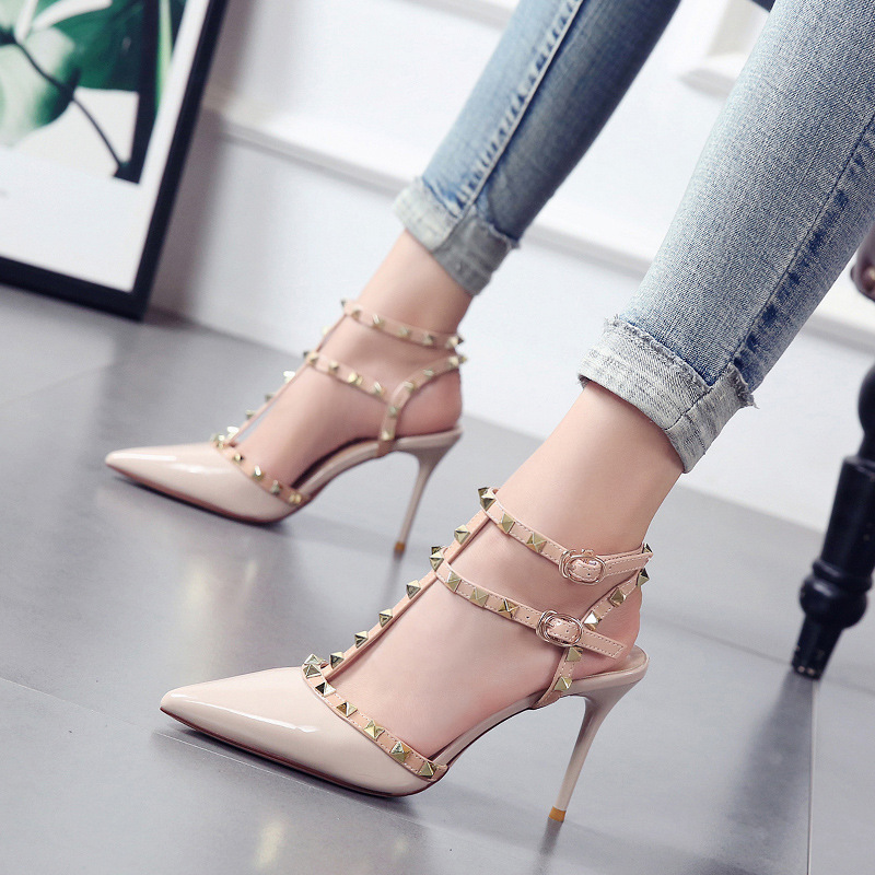 2020 Summer Womens Rivet High Heels Sandals Fashion Elegant Luxury Designer Yellow Korean Style Shoes