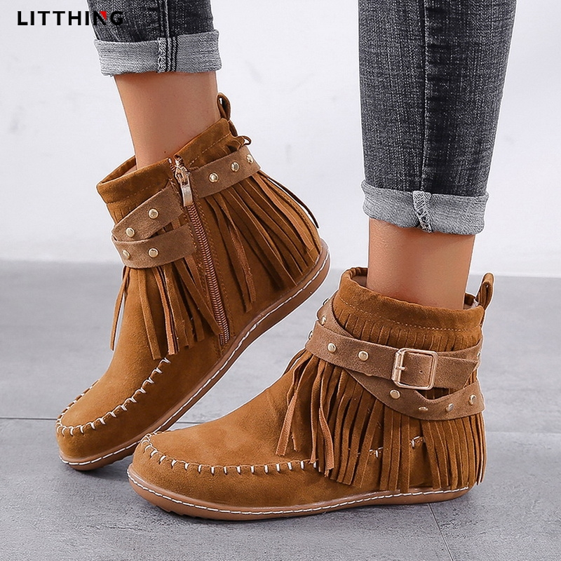LITTHING 2020 Retro Women Ankle Boots Autumn Winter Booties Round Toe Suede Sewing Thread Tassels Flat Shoes Buckles Side Zipper
