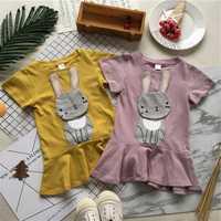 Tonytaobaby NOVEDAD DE VERANO conejo para niña bebé niña vestido sólido con cola vestidos infantiles para niñas