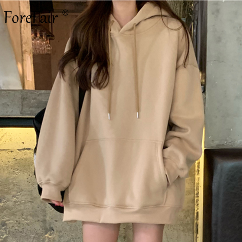 Forefair Hoodies Women 2019 Autumn Oversized Harajuku Korean Style Plus Size Casual Solid Blue Khaki Hooded Winter Sweatshirt