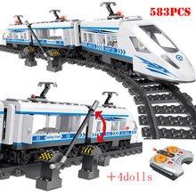 RC Hohe-tech Stadt Eisenbahn Bausteine Fernbedienung Station Schiene Zug Erleuchten Ziegelsteine Pädagogisches Spielzeug Für Kinder Geschenk