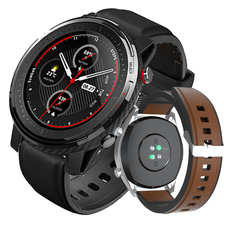 Leather Silicone Watchband For Huami Amazfit Stratos 3 GTR 47mm Strap 22mm Sport Bracelet For Huawei GT 2 46mm Honor Watch Magic