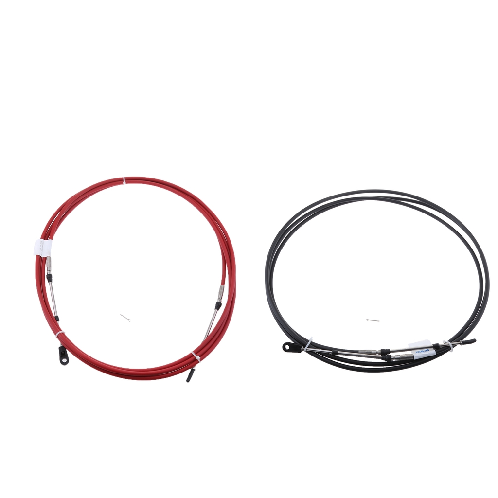 2Pcs 19Ft Throttle Shift Control Cable for Yamaha Outboard Motor Red /& Black
