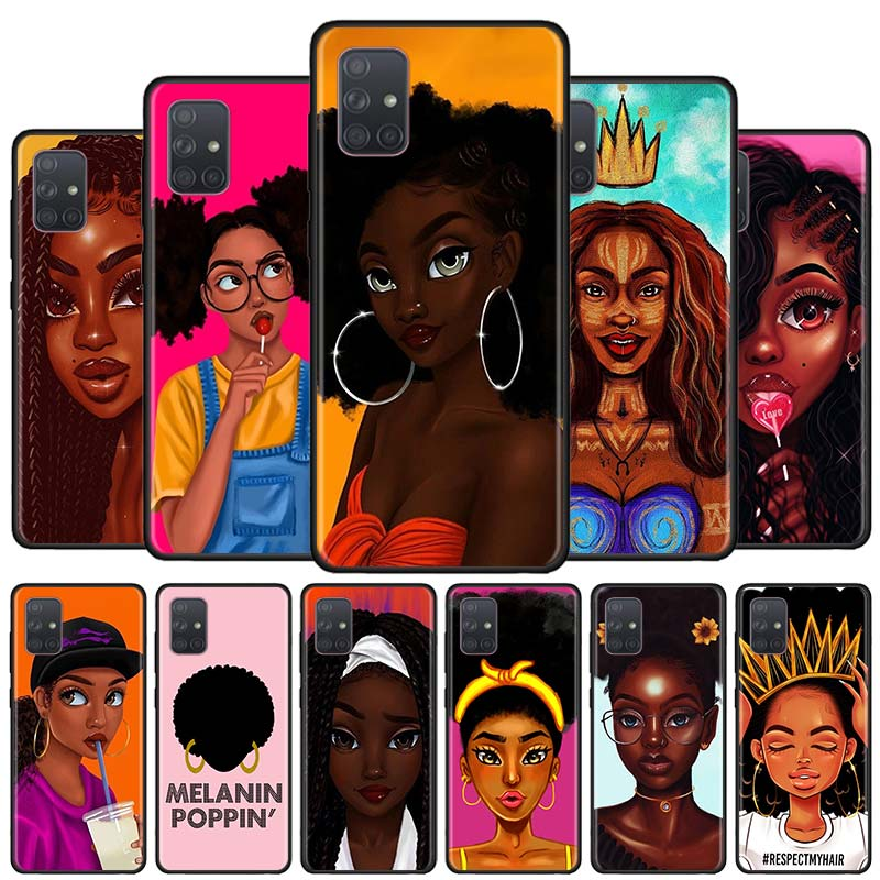 Melanin Poppin Black Girl Black Soft Phone Case for Samsung Galaxy A50s A70s A51 A71 5G A10 A20 A30s A40 A31 A41 A91 Cover Capa image
