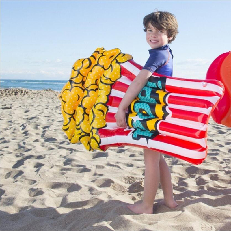 110cm Popcorn Children Inflatable Pool Float 2019 New Lie-on Inflatable Floating Island Swimming Mattress Sea Bed For Beach Toys
