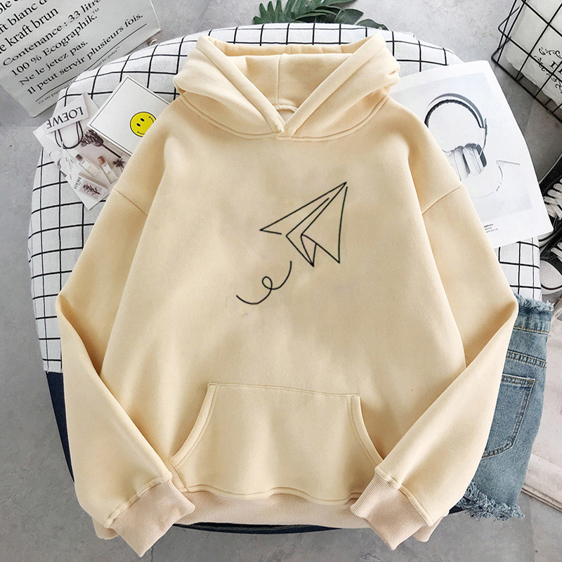 Paper Airplane Print Hoodies Women Oversized Pullovers Harajuku Autumn Winter Hoodied Femal Loose Casual Streetwear Sweatshirt 7