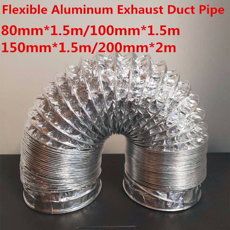3/2 Meter Length 100mm/4'' PVC Fresh Air System Flexible Aluminum Exhaust Duct Pipe Air Ventilation Pipe Hose For Bathroom Of
