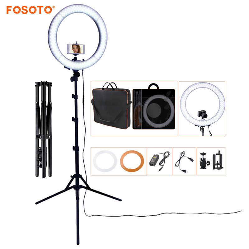 FOSOTO RL 18 photographic lighting 5500K Led Ring Light WithTripod & Orange Bag Ring Lamp For Makeup Camera Phone Youtube Video-in Photographic Lighting from Consumer Electronics