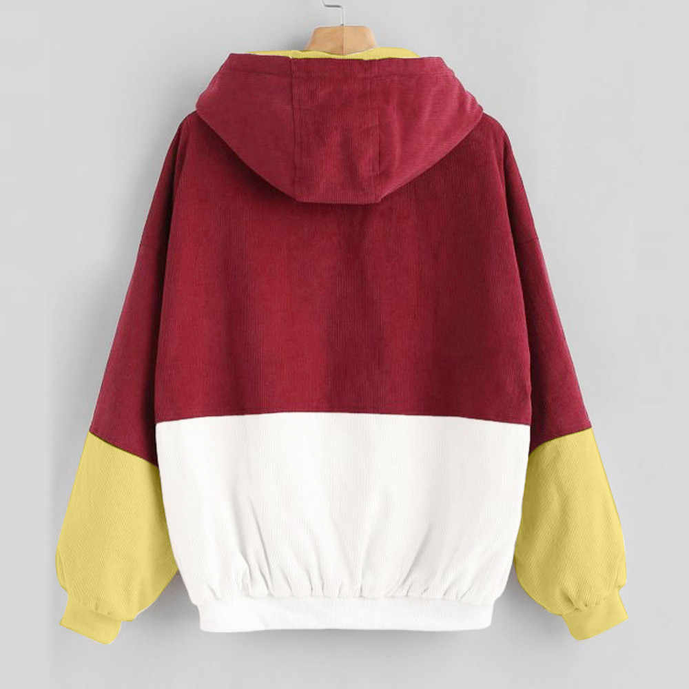 Maglia A Manica Lunga Cappotto di Velluto A Coste giacca Autunno inverno delle donne Della Rappezzatura Giacca più il formato femmina pulsante Cappotto Giacca A Vento #817