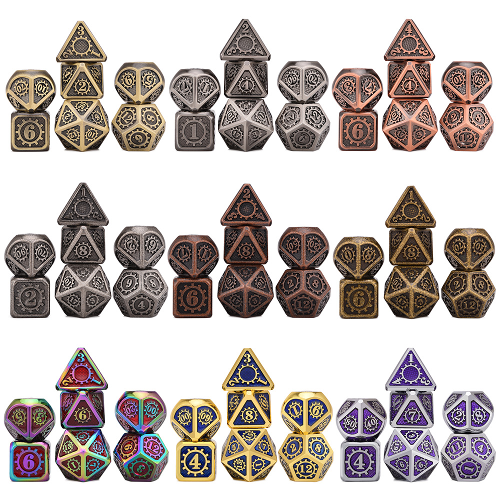Mechanical Dice For DnD Tabletop RPGs Games 7pcs/set Metal Dice With Drawstring Pouch D4 D6 D8 D10 D% D12 D20