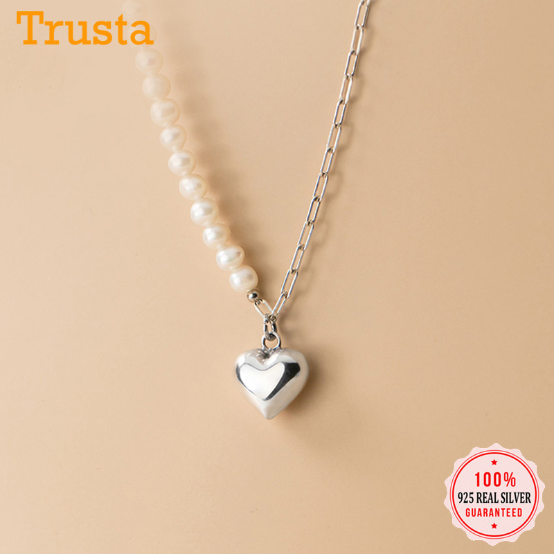 Trustdavis Authentic 925 Sterling Silver Lovely Pearl Heart Pendant Necklace For Women Wedding Birthday S925 Jewelry Gift DA1210