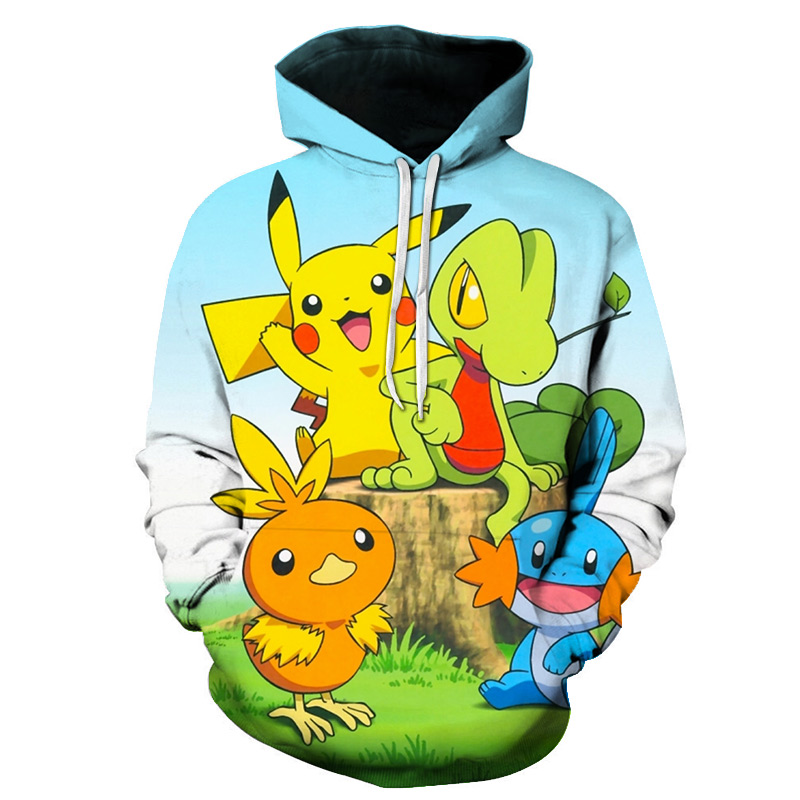 New hot anime Pokemon team role-playing hoodie 3D printing high quality hooded sweatshirt autumn and winter hooded 2