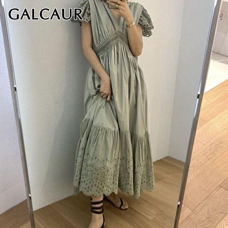 GALCAUR Elegant Hollow Out Dress Women V Neck Flare Sleeve High Waist Tunic Patchwork Oversize Maxi Dresses Female 2020 New