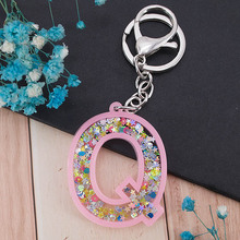 1PC Women Keychains  Glitter Hollowed-out  Words Handbag English Letter Keyring  Charms