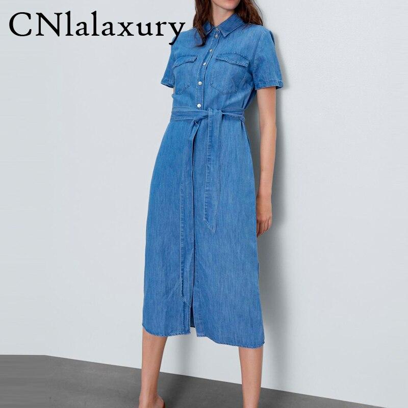 Женское длинное джинсовое платье, летнее синее платье со шнуровкой, свободное Хлопковое платье с коротким рукавом, 2020|Платья|   | АлиЭкспресс