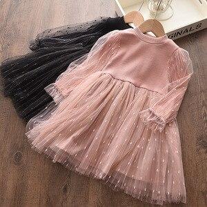 Осеннее платье для новорожденных; Трикотажное хлопковое Сетчатое платье с длинными рукавами в стиле пэчворк; Вечерние платья для маленьких...