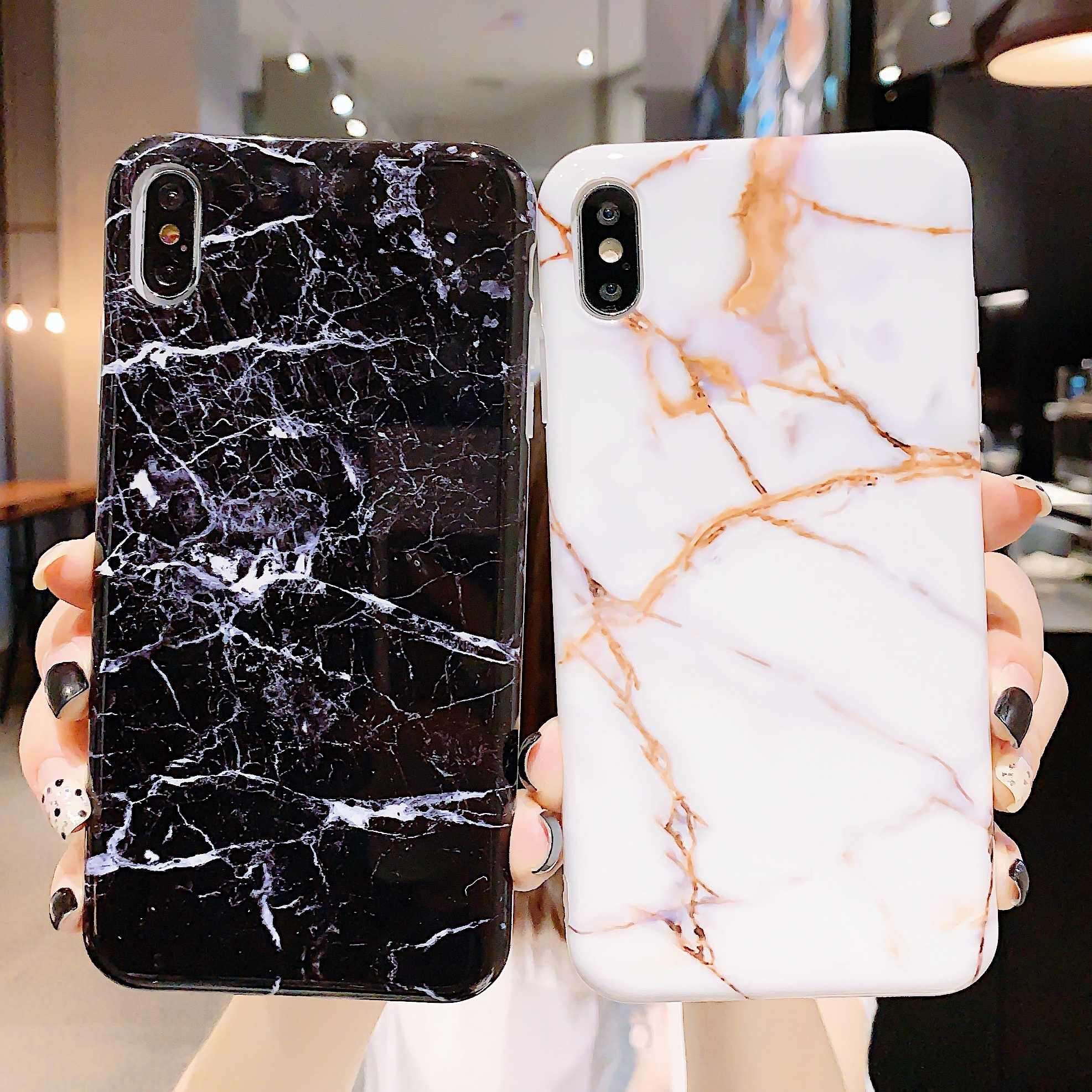 TPU macio Caso de Mármore no Para o Coque iphone 7 XS MAX Caso Tampa Traseira Para O iphone 6 6S 7 8 Plus caixa Do Telefone Tampa Da Caixa Do iphone X XR