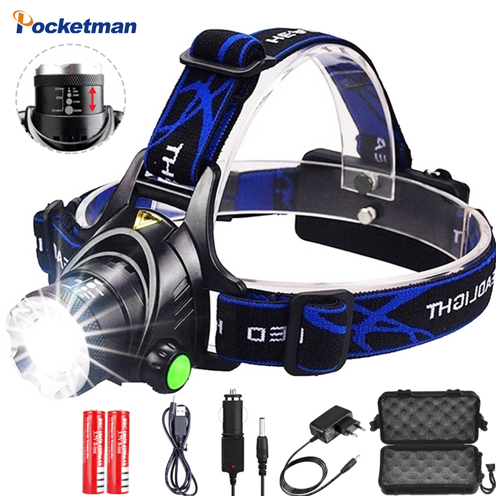 Brightest 60000LM Led Headlamp powerful Headlight Head Torch Flashlight Head lamp lanterns use 18650 battery for Fishing Hunting
