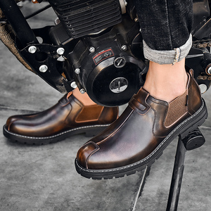 2019 Autumn Chelsea Boots Men Fashion Casual Men Shoes British Male Ankle Boots Comfortable Waterproof Flat Shoes