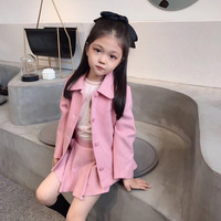 2020 Girls set pink colour coat + shorts clothing set high quality kids clothes