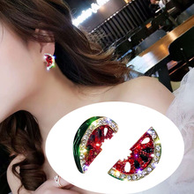 Stud-Earrings Watermelon Crystal Fashion Jewelry New-Accessories Shiny-Side Simple-Style