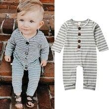 Новорожденный мальчик ползунки комбинезон для малышей девочек серый полосатый хлопок детская одежда младенческой мальчик комбинезон детская одежда весна