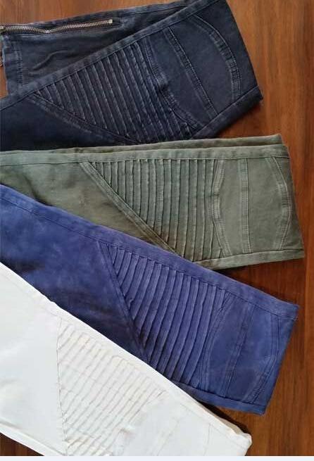 Europe America Moto Biker Jeans Women Cotton Washed Vintage Pleated Pencil Pants Femme Zipper High Elasticity Skinny Trousers 5
