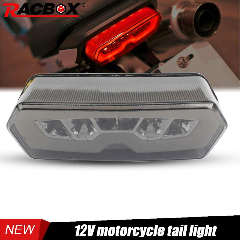 Racbox Motorcycle LED Taillight Rear Tail Amber Turn Signal Red Brake Lamp Light 12V Waterproof For HONDA MSX /Grom 125 13-16