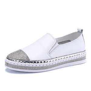 European Famous Brand Patchwork Espadrilles Shoes Woman Genuine Leather Creepers Flats Ladies Loafers White Leather Moccasins