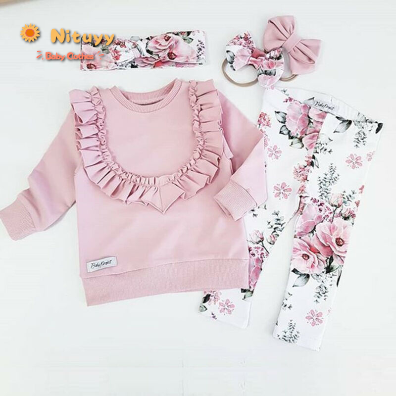3PCS Baby Girls Floral Long Sleeve T Shirts Kids Toddlers Trousers Headband Suit